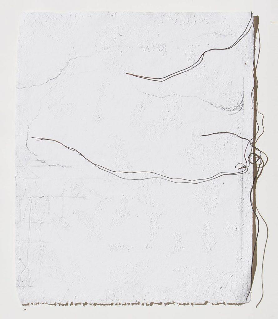 Motivi vaganti, 2017, grafite e rame ossidato su carta, cm 98x77