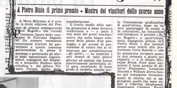 1961 – 3° Premio Bice Bugatti – articolo Corriere Lombardo – dal catalogo Premio 1992