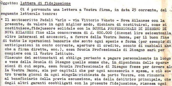 1961-Carlo Fedeli Sindaco Fidej Banco Desio x Scuola Disegno