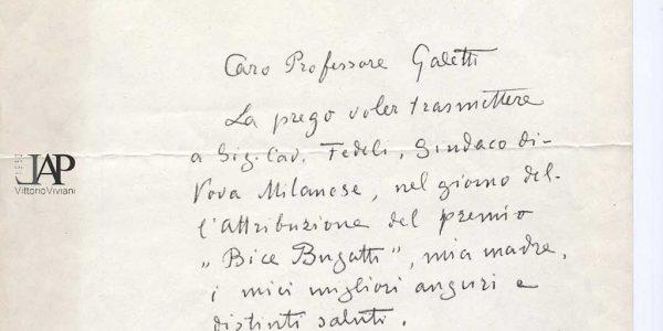 1961 – lettera di Gottardo Segantini a Ugo Galetti rivolta al sindaco Carlo Fedeli – auguri per Premio Bice Bugatti