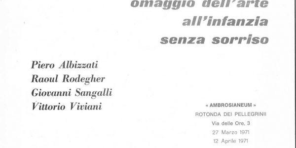 1971-VV invito mostra Omaggio dell'arte all'infanzia senza sorriso AMBROSIANEUM Milano