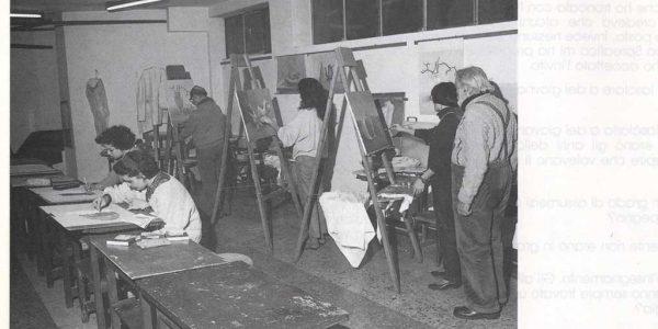 1992 – aula corso di pittura LAP – foto dal catalogo Premio 1992