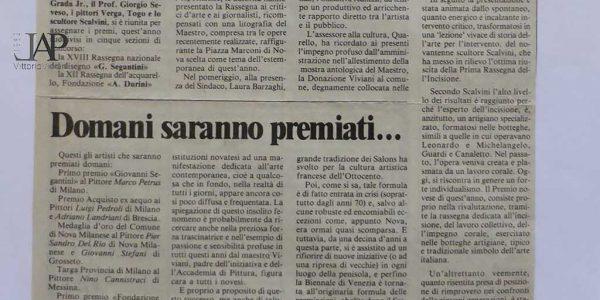 1996 – 18° Premio Segantini articolo Il cittadino 29 giugno